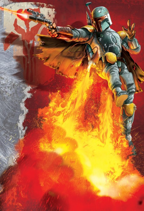 boba fett on a plume of FIRE