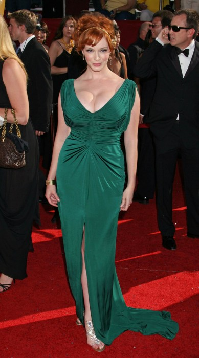 christina hendricks - green dress 2