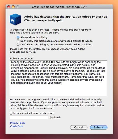 crash report for Adobe Photoshop CS4 | MyConfinedSpace
