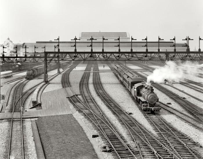 desolate train yard