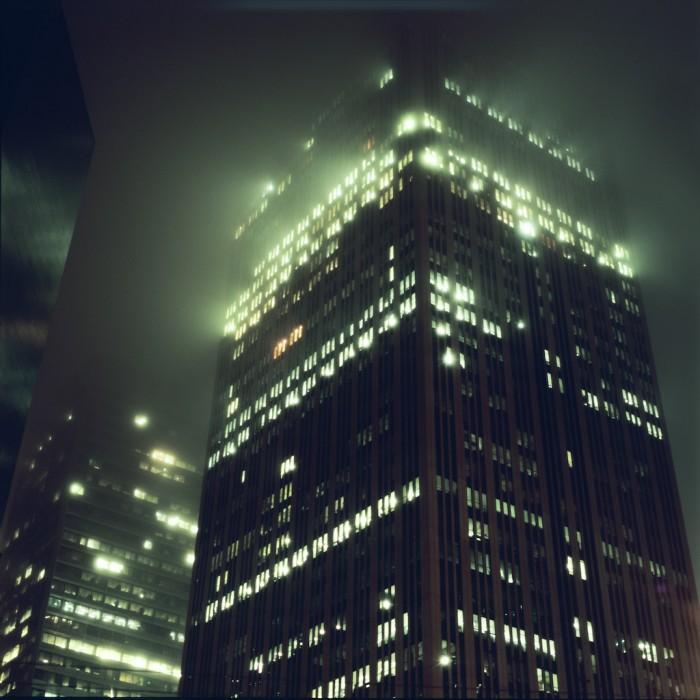 foggy skyscraper