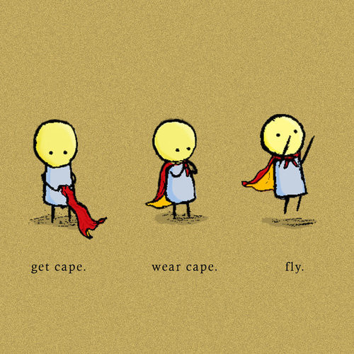 get cape – wear cape – fly