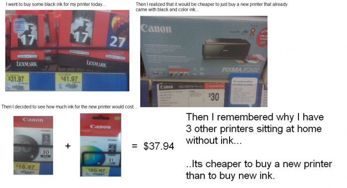 it's cheaper to buy a new printer than to buy new ink