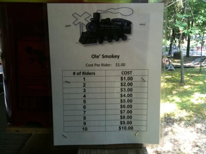 ole' smokey - cost per rider