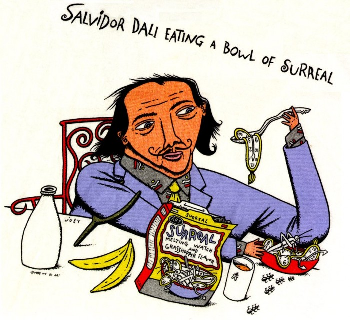 salvidor dali eating a bowl of surreal