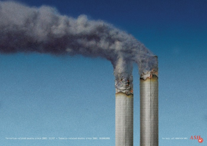 ASH twin towers 700x495 Not exploitative at all wtf Wallpaper Advertisements 9 11
