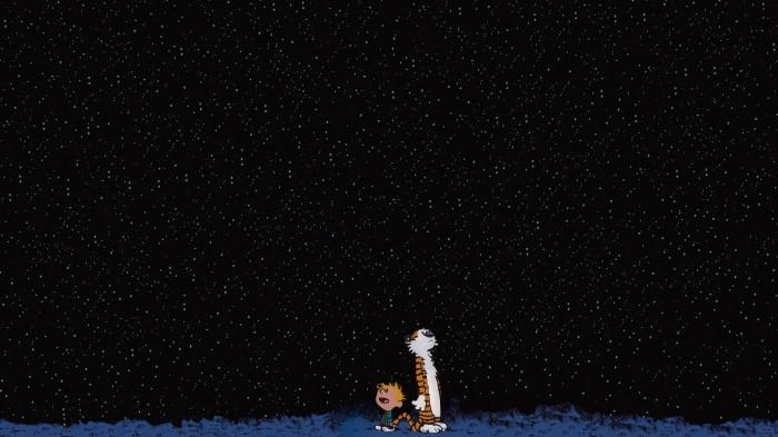 calvin and hobbes night sky wallpaper