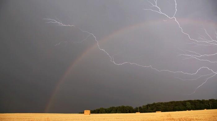 Summer Storm, Lightning and Rainbow