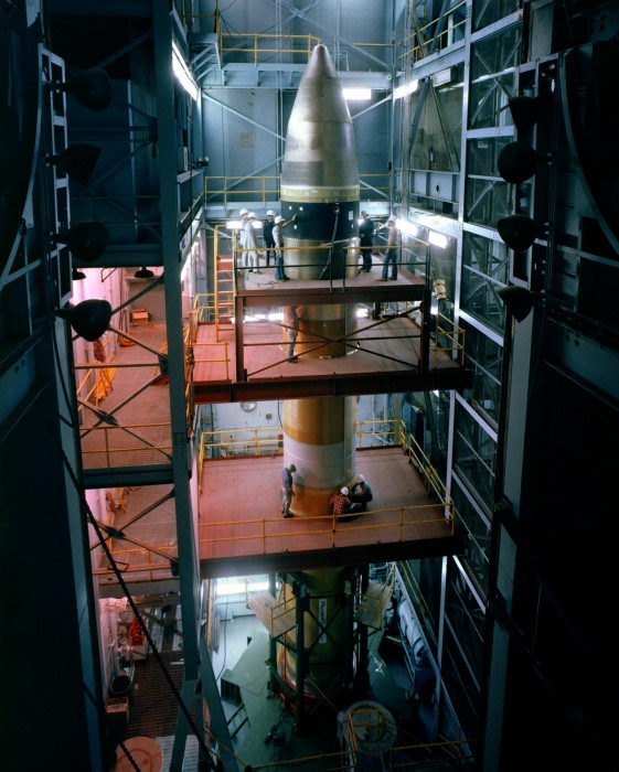 A view of the MX Peacekeeper intercontinental ballistic missile (ICBM) being assembled