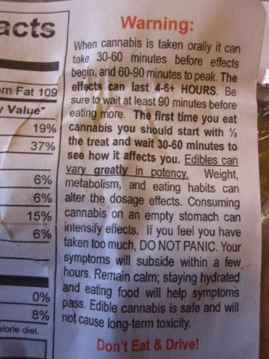 Cannabis Food Warning