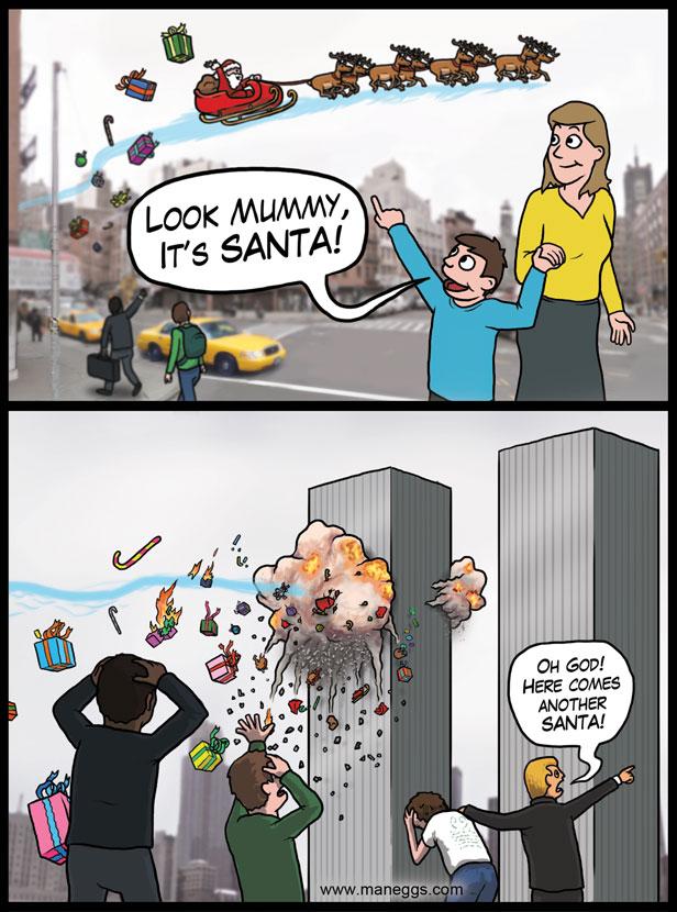 merry xmas Twin Tower Santa X Mas wtf Humor 9 11