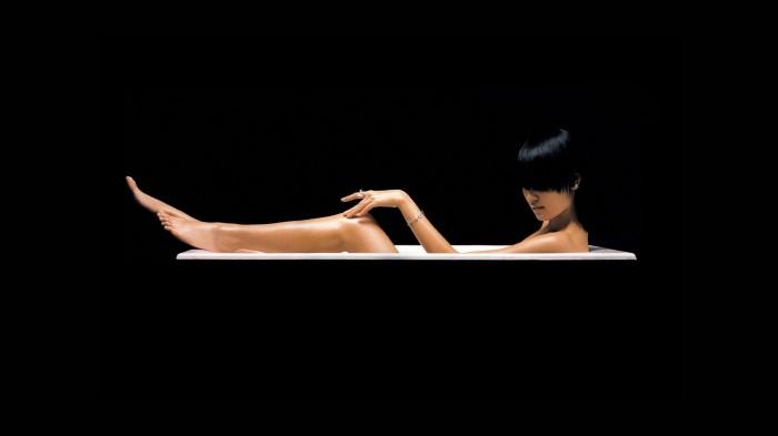 black asian in tub