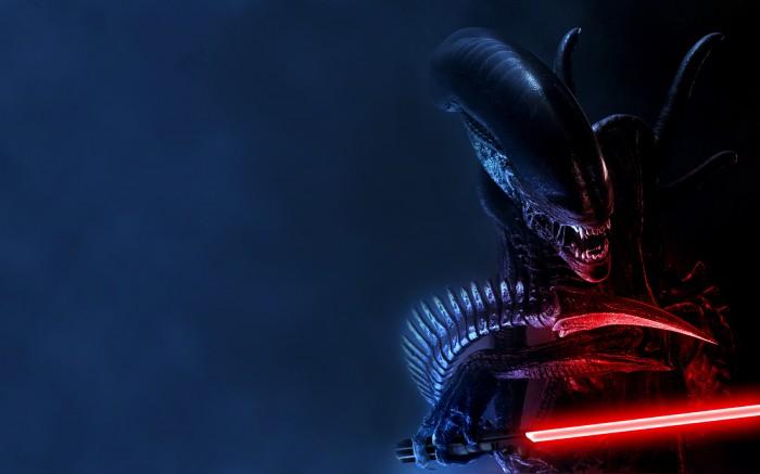 alien with light saber