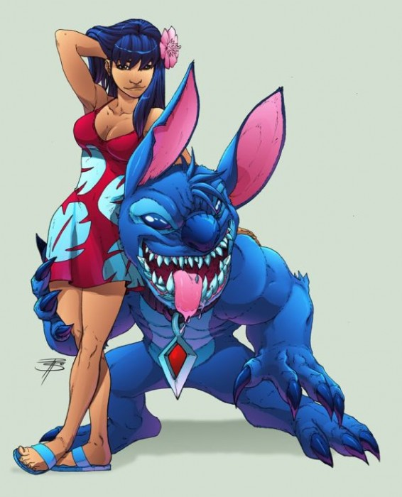 lily and stich all grown up 566x700 lily and stich   all grown up lilo and stitch disney Art