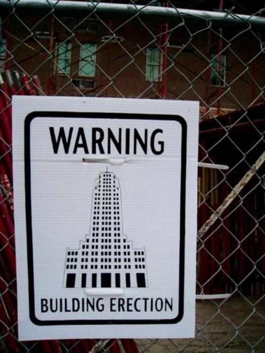 warning - building erection