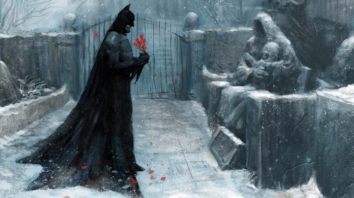 batman at a grave