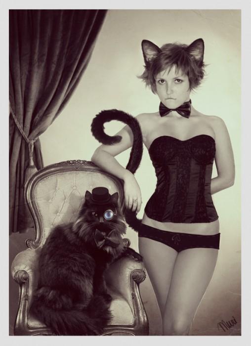 gentlemen cat and woman