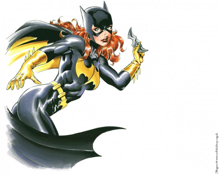 batgirl throwing a batarang 700x560 batgirl   throwing a batarang