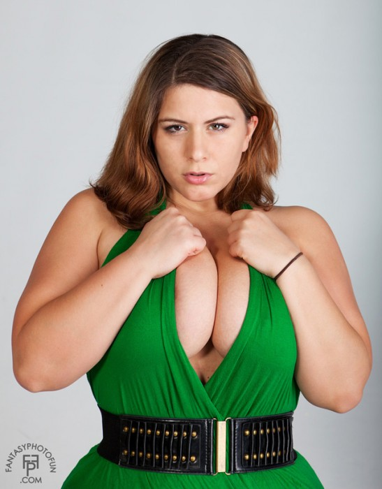 london andrews in a green dress