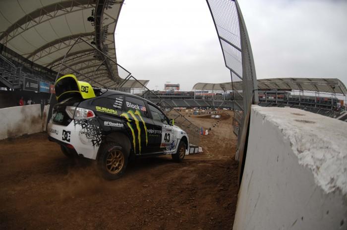 rally car in stadium