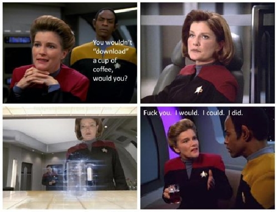 you wouldnt download a cup of coffee you wouldnt download a cup of coffee star trek Politics Humor Food