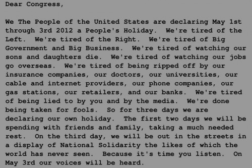 dear congress - peoples holiday