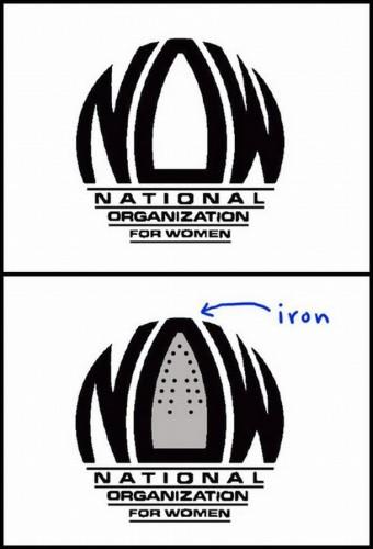 national organization for women logo is an iron