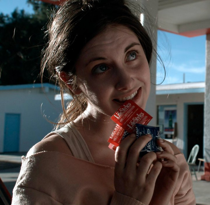 Alison Brie – with condoms in her mouth