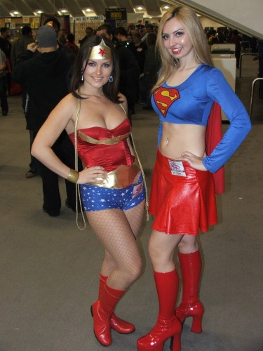wonder woman and supergirl cosplayers