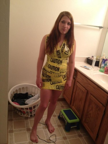 caution tape dress