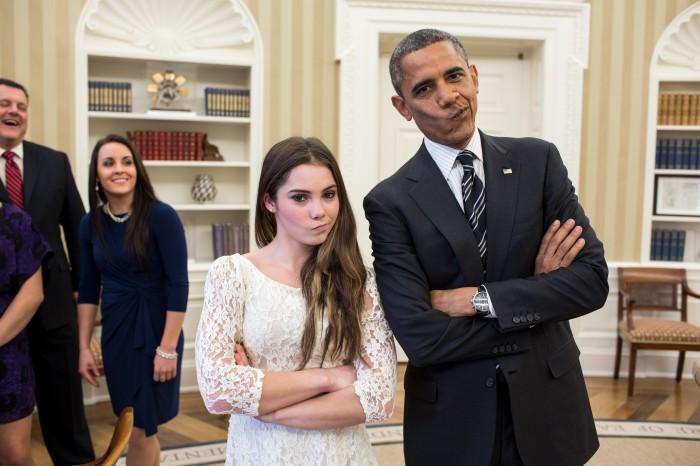 obama smirk with kayla maroney 700x466 obama smirk with kayla maroney Wallpaper McKayla Maroney Humor barack obama