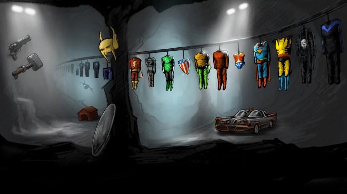 superhero costumes in the batcave .jpg