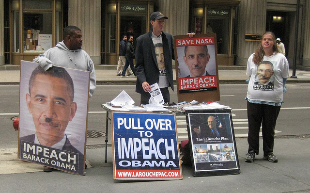 LaRouche suppporters want to impeach Obama