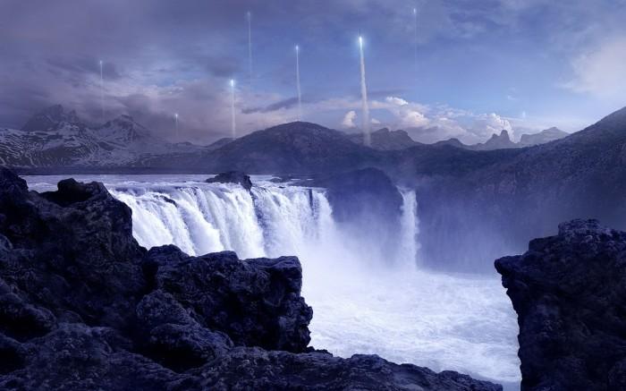 Waterfall rocket launch.jpg