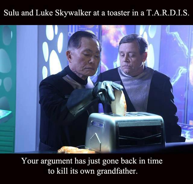 IMAGE(http://www.myconfinedspace.com/wp-content/uploads/2013/07/Sulu-and-Luke-skywalker-at-a-toaster-in-a-TARDIS.jpg)