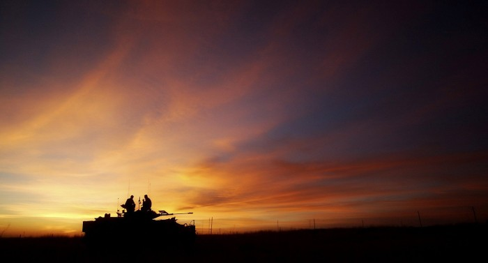 British Army Warrior Infantry Fighting Vehicle in Sunset