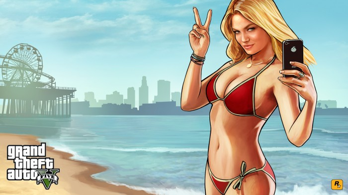 Beach Girl from GTA5 700x393 Beach Girl from GTA5 Wallpaper Sexy not exactly safe for work grand theft auto Gaming