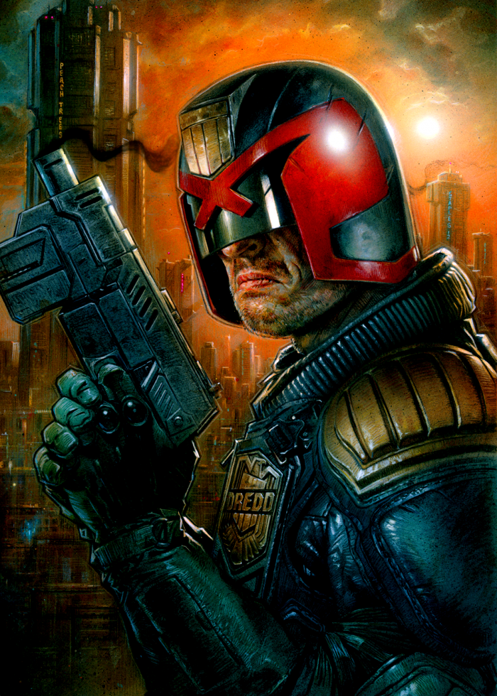 Judge Dredd with his trusty gun.png