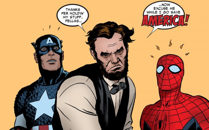 captain america and spider-man help abe lincoln save america.jpg