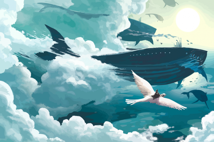 flying whales 700x466 flying whales wtf Wallpaper Fantasy   Science Fiction