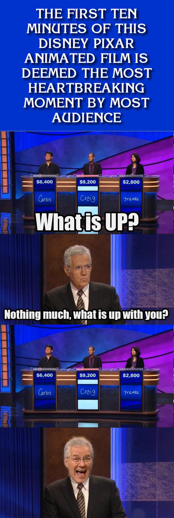 UP on Jeopardy 700x2076 UP on Jeopardy Sad :( Movies Humor Gaming