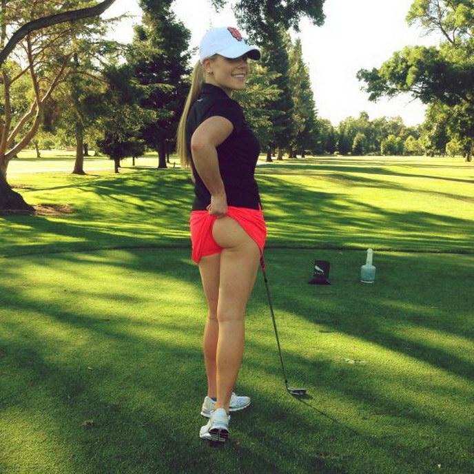 Woman golfer nice butt upskirt knows that