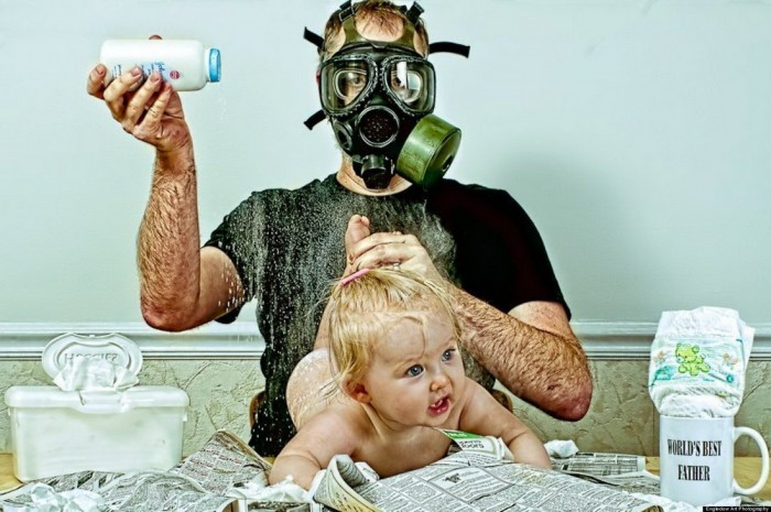 worlds best father diaper time 700x465 worlds best father  diaper time wtf Humor Gas Masks