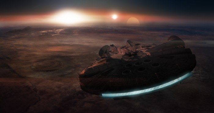Falcon over Planet 700x371 Falcon over Planet Wallpaper star wars