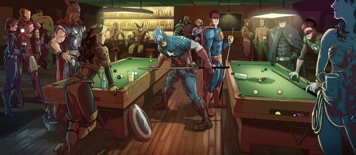 Marvel vs DC Pool Hall 700x306 Marvel vs DC Pool Hall wonder woman wolverine thor superman spider man rogue Iron Man Green Lantern Comic Books Captain America batman