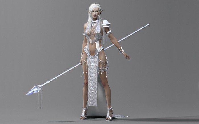 Silver Warrior 700x437 Silver Warrior Wallpaper not exactly safe for work Fantasy   Science Fiction