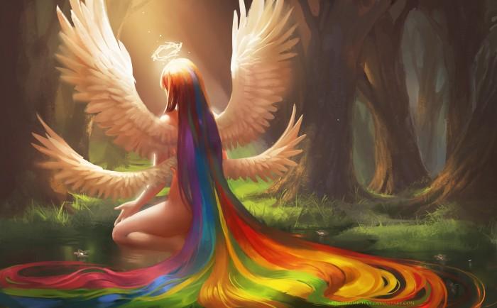 rainbow angel 700x434 rainbow angel Wallpaper Fantasy   Science Fiction