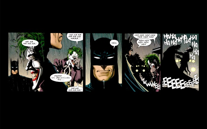 Batman shares a laugh with the joker 700x437 Batman shares a laugh with the joker Wallpaper joker Humor batman