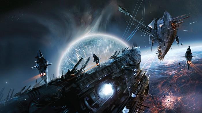 WH40k Space Battle 700x393 WH40k Space Battle Wallpaper Fantasy   Science Fiction