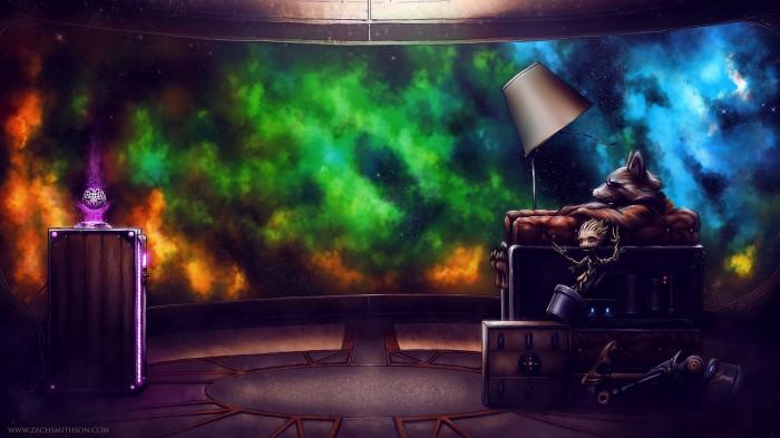 Rocket and Groot enjoy space tv.jpg